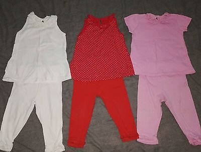 3 pairs of girls 9-12 months outfit bundle