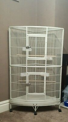 Large White African Grey Parrot Corner CAGE - SALE NOW ON - Buy It Now