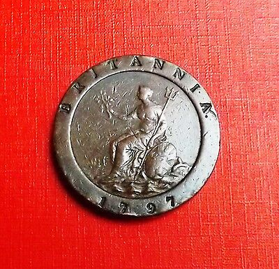 George 111 1797 Cartwheel Twopence Very Nice Condition Very Nice Rare Coin