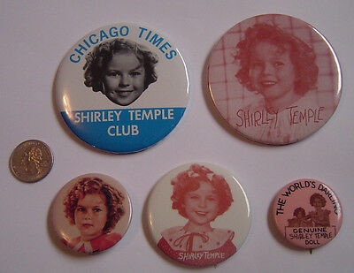 Shirley Temple Button Pinback Lot 5 Different Chicago Sun Times