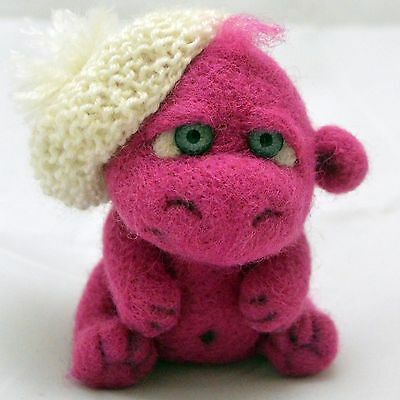 Felted crimson hippo, handmade artist sculpture, 4in.