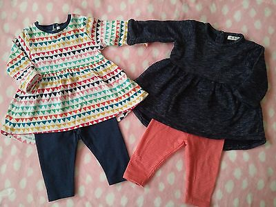 2 next sets tunic with leggings, 0-3months excellent condition