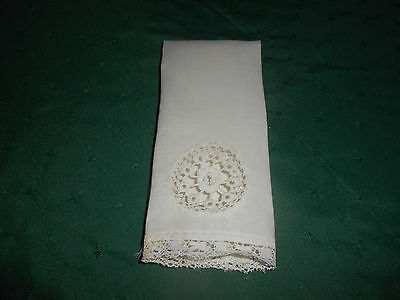 Hand Made White Linen Towel With Exquisite Crochet Insert And Lace,  Circa 1920