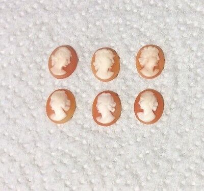 6 Vintage, Loose, Unmounted Small Oval  Carved Shell Cameos. Jewellery Making