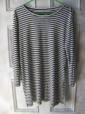 Gap Women's Size L Blouse Stripe Long Sleeve Tee Black White Top Tunic