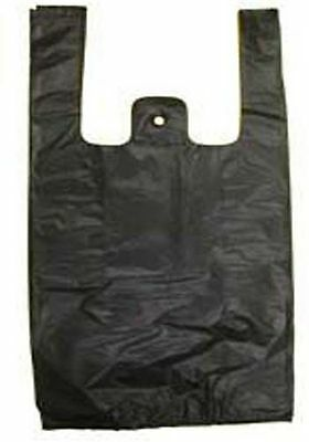 "Black Plastic Bags TShirt Retail Small 1/10 HD Quality Wholesale 8"" x 3.5"" x 15"""