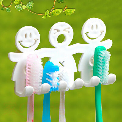 Cute Family Set Toothbrush Holder Wall Bathroom Hanger Suction Cup Stand Hook