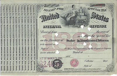 Stamp For Special Tax,united States Internal Revenue,act Of Mar. 3, 1883,tobacco