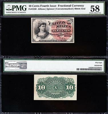 Awesome HIGH GRADE *SCARCE* 4th Issue 10 cent Fractional! PMG 58! FREE SHIP TC26