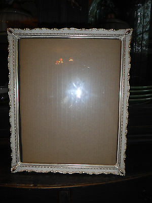 "Vintage Chic White & Gold Picture Frame 8"" X 10 "" Excellent"