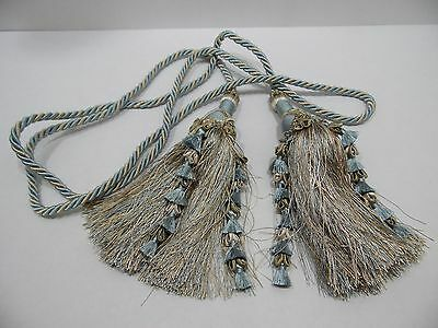 "Curtain Tie Back Tassels Corded Twisted Rope 109"" Length Blue Beige Elegant"