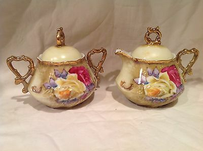 Vintage Hand Painted Nippon Sugar And Creamer