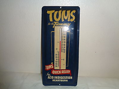 """Vintage Tums for the Tummy Advertising Sign Thermometer 9"""" x 4"""""""