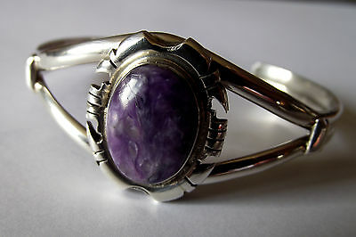 Charoite and Sterling Silver Cuff Bracelet