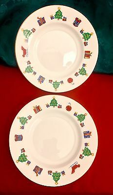 "4 SAVE THE CHILDREN Tienshan China Christmas Plates 6"" Dessert Side 029706232874"