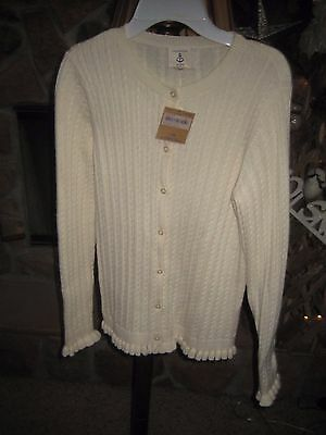 LANDS' END Kids Girls Cable Knit Cream Button Sweater Cardigan Sz L14 NWT