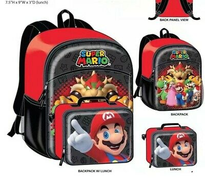 Super Mario Bros Brothers Boy Yoshi Luigi School Backpack Lunch box Kids BookBag