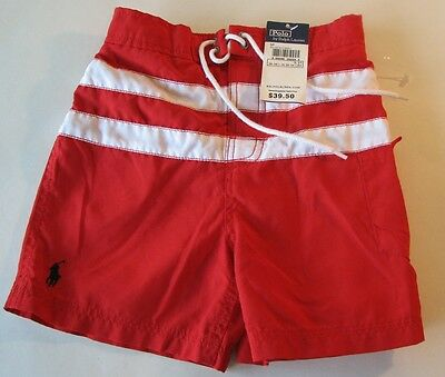 Polo Ralph Lauren Swim Trunks Board Shorts Boys Sz 3 3T Red White Striped NWT