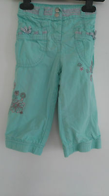 Girls Lined Cargo Style Flower Patterned Trousers Age 9-12 Months From Next