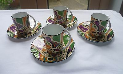 Decor du Galion 'So French' Set of 4 Espresso Coffee Cups and Saucers with Cats