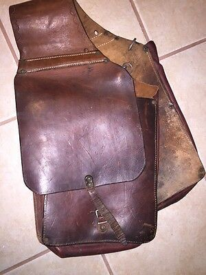 Vintage Cowboy Heavy Leather Brown Throw Over Horse Saddle Bags Great Patina