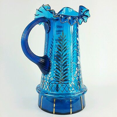 Antique Bohemian Moser Style Art Glass Pitcher