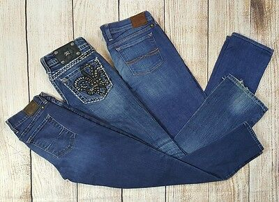 Lot of 3 Women's Size 27, Miss Me, Lucky Brand, Boot Cut, Skinny, Straight Jeans