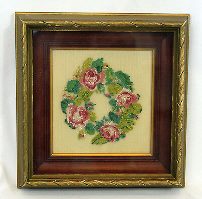 Vintage Antique Framed Finished Petit Point Pink Floral Roses Wreath Bouquet