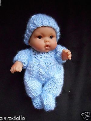 """Doll Clothes Blue Hand knitted romper set for baby boy chubby Berenguer 8"""" 7"""""""