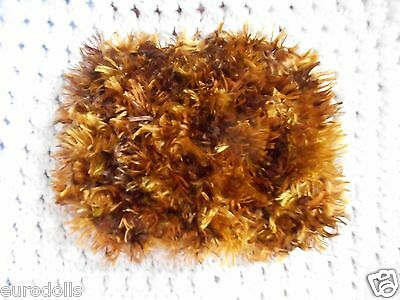 """Mini Hand knitted Blanket-rug 4inx 5"""" gold-brown fuzzy for small ooak baby dolls"""