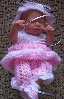 """Doll Clothes Pink-White Hand Knitted baby 4 pc set Fit So Truly Real 10"""" 11"""""""