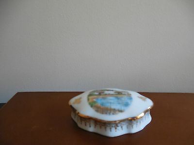 Limoges Porcelain, Small Oval Trinket Box with a View of Cannes on lid, Stunning