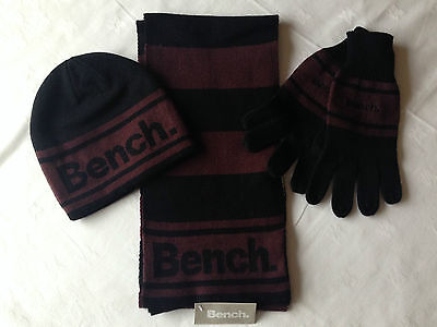 Bench Men's Hat, Glove and Scarf Set - One size - Black with Brown trim - BNWT