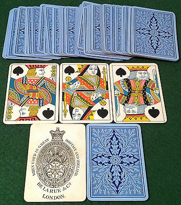 ANTIQUE 1880s DE LA RUE * TWO TONE BLUE FLOWERS LEAVES * PLAYING CARDS  No Index