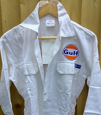 """Goodwood Revival Vintage Style Classic White Gulf Badged Overalls 36"""" Chest"""