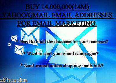 Buy 14,000,000(14M) Yahoo/gmail Email Addresses For Email Marketing.