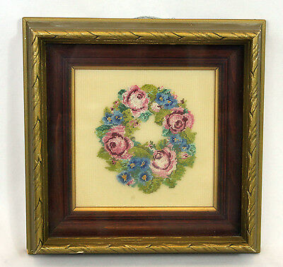 Vintage Antique Frame Finished Petit Point Pink Blue Floral Roses Wreath Bouquet