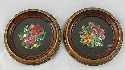 Pair of Vintage Round Framed Finished Petit Point Cross Stitch Floral Bouquets