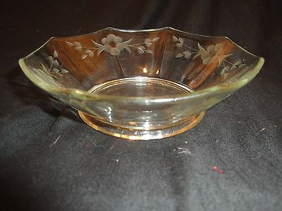 (1428) VINTAGE CLEAR OCTOGON CANDY DISH  depression glass
