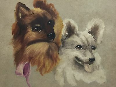 Old American Folk Art Dog Painting Of Pomeranian's