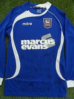 IPSWICH TOWN Shirt Hand Signed by 2016/2017 Squad - 22 Autographs - Ward, Sears
