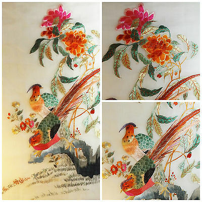 VTG Chinese Silk Embroidery Elaborate Pheasants Botanical vibrant colors artwork
