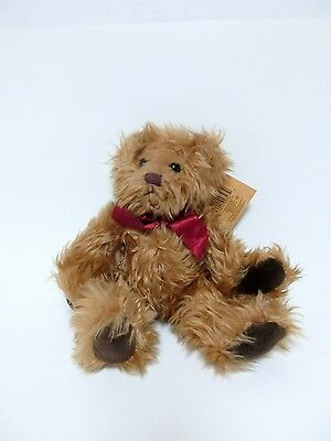 Russ Berrie Gregory Shaggy Teddy Bear Red Bow Plush Stuffed Animal Toy