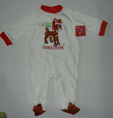 Rudolph The Red-Nosed Reindeer Baby's First Christmas Footed Sleeper 6 Mo