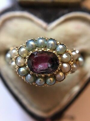 Antique Victorian Yellow Gold Ornate Almandine Garnet And Pearl Cluster Ring