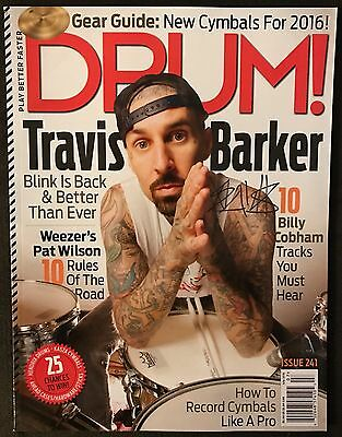 TRAVIS BARKER Blink-182 Famous Stars and Straps Signed Autographed Magazine!