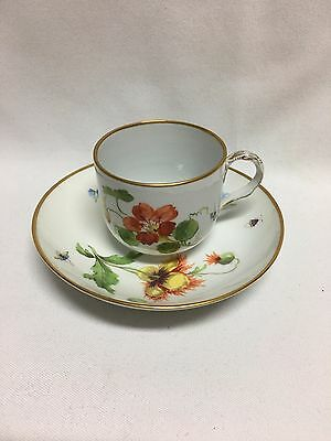 Meissen Red Flower Insects Tree Handle Gold Trim Cup & Saucer