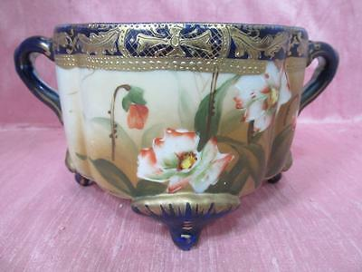 Antique Nippon Hand Painted Twin Handled Bowl Cobolt Blue Gold 'm' Mark