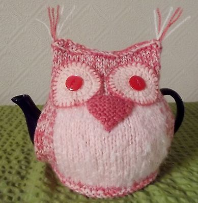 Hand knitted Coral & Peach  Owl Tea cosy New