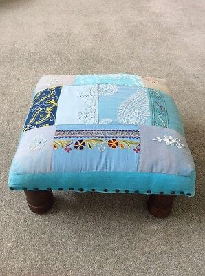 Footstool - Indian Inspired -Blue Patchwork